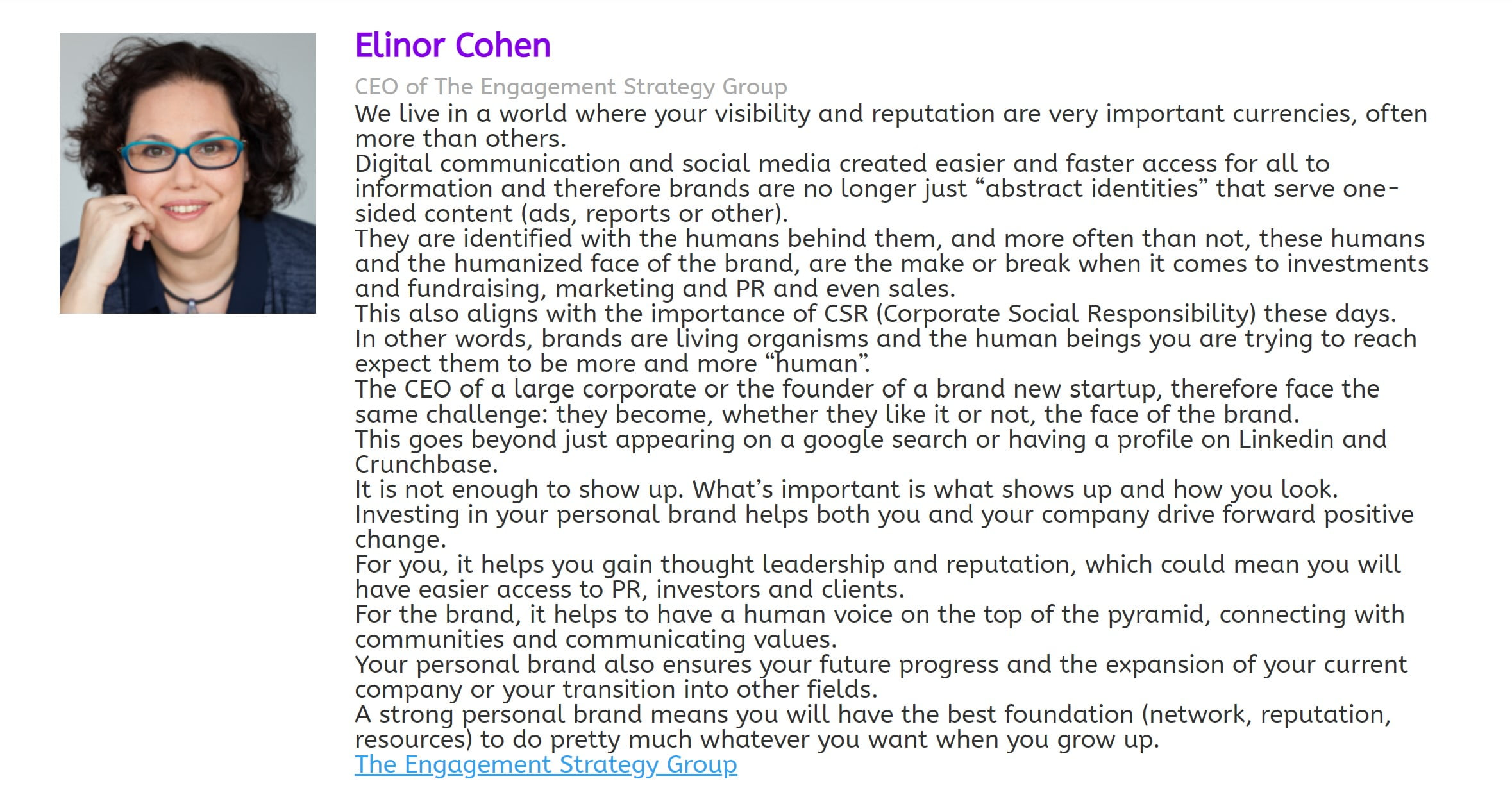 "Elinor Cohen on what ""personal brand"" means"